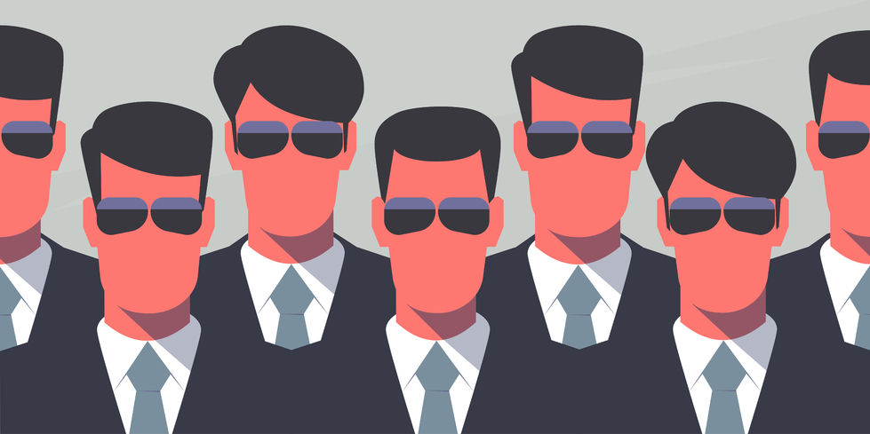 43680936 - group of bodyguards in dark suits and dark glasses. secret service agents. protection concept. retro style illustration.