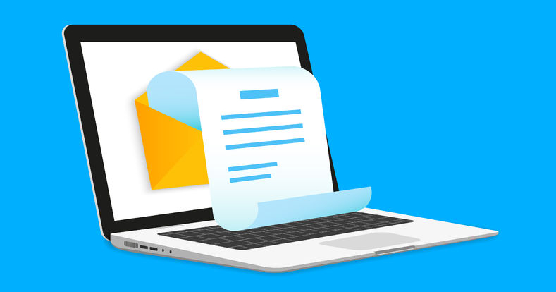 36148606 - newsletter illustration with laptop isolated on blue